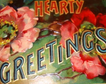 SALE Lovely Vintage Embossed Floral/Greeting Postcard