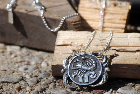 brass zodiac medallion or necklace sign pin pendant silver sterling scorpio astrological