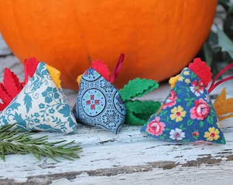 Zen Chicken Ornaments - Happy Chickens - Blues