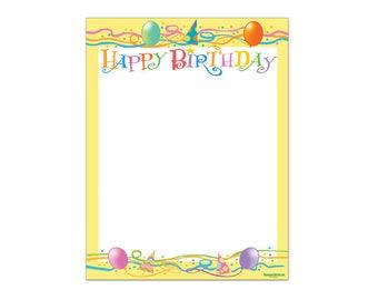 Happy Birthday Stationery -  Happy Birthday Letterhead -8.5 x 11 inches - 60 Paper Sheets - 6511
