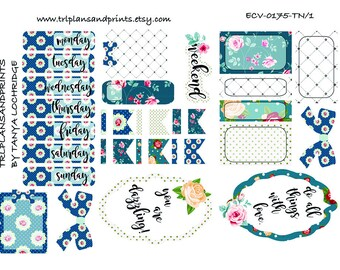 ECV-0175-TN Stickers - Vintage Florals Meet Lapis Blues! Boho/Shabby Chic Kit - Personal/Pocket, TN, Inserts, Happy Planner, Notebooks