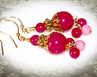 Pink and Gold Vintage Beaded Earrings. Repurposed Art Deco Jewelry