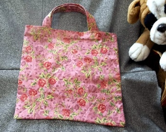 Book Lunch N Small Gift Tote Bag, Roses on Rose Print