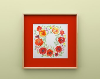 Floral Watercolor Wreath Print - Poppies