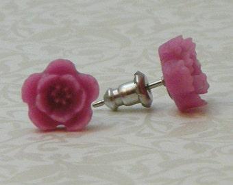 5 Petal Flower Earrings - Mauve Pink