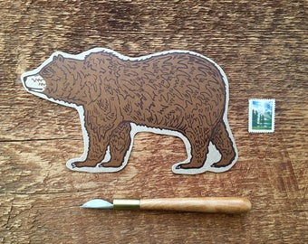 Grizzly Bear Postcard, Bear Postcard, Die Cut Letterpress Postcard