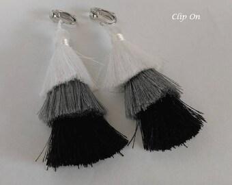 Clip On Earrings 348:  Long Drop Layered Tassel Costume Clip-on Earrings | Fashion Earrings, Clip Earrings, Tassel Earrings, Gifts for Women