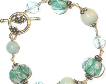 Green and Blue Lampwork Bracelet