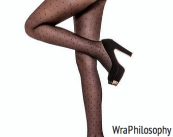Polka Dot Cosmopolitan Semi Sheer Black Tights