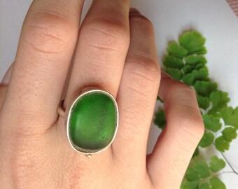 Genuine Seaglass Sterling Silver bezel Ring