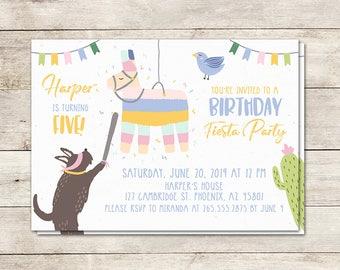 Birthday Party Invitation, Fiesta Birthday Invitation, Llama Invitation, Cactus, Birthday Pinata, 5x7 Inch, Printing Options Available
