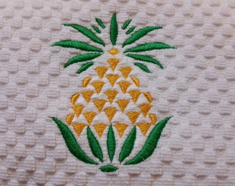 Pineapple Hand Towel - Welcome Pineapple Embroidered Hand Towel - Pineapple Waffle Weave Towel - Tropical Kitchen - Pineapple Decor