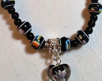 Necklace heart 56cm black glass beads. Unique creation. HAND MADE. Gift idea. Silver clasp.