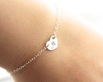 Sterling Silver Initial Bracelet,Tiny Charm Bracelet, Heart Bracelet, Dainty Bracelet, Personalized Mothers Bracelet, Bridesmaids Bracelet