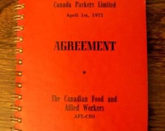 vintage reference union ephemera  ... CANADA PACKERS Ltd AGREEMENT 1971 union ephemera  ...