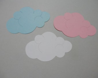 Clouds die cuts, hand punched out of card stock 24total