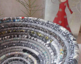 Coiled Fabric Basket - Gray Gypsy - Organizer, Storage, Bohemian Handmade Basket, Neutral Colors