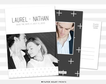 Save-The-Date Postcard, Modern Wedding Announcement, Personalized Save the Date Card, Custom Card Printing, Digital File - Laurel