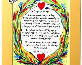PRAYER for ANIMALS 11x14 Rescue Quote Albert SCHWEITZER Catholic Inspirational Motivational Meditation Heartful Art by Raphaella Vaisseau