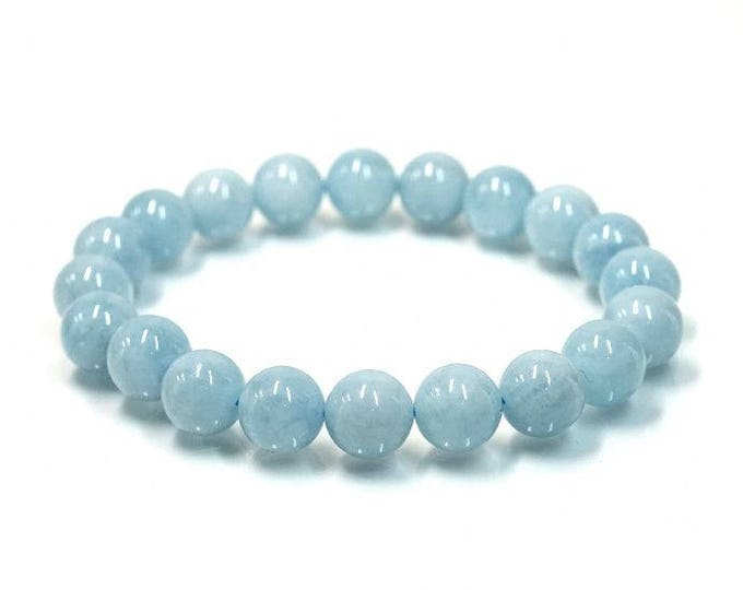 """March Birthstone Aquamarine Natural Gemstone Stretch Bracelet 7""""- 7.5"""" Available in 8 & 10 mm Round Beads-Pale Blue (Unisex)"""
