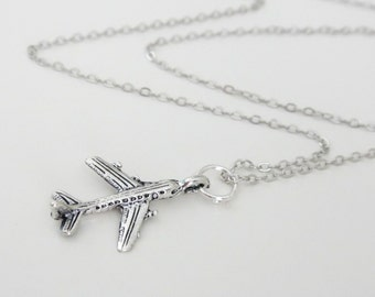 Antique Silver Airplane Flying Plane Necklace
