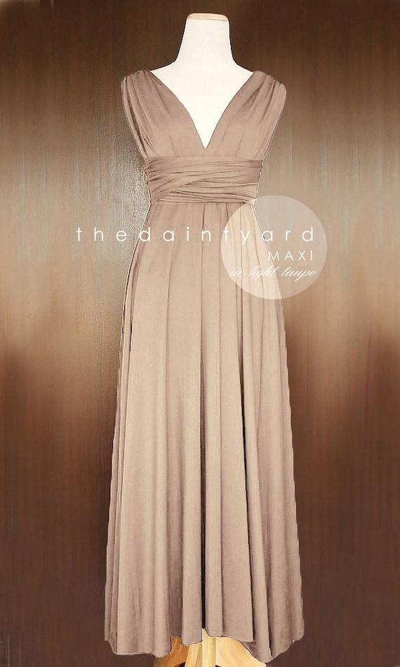 Maxi Light Taupe Bridesmaid Dress Convertible Dress Infinity