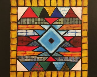 "Southwestern Motif Acrylic Painting/ 12"" x 16"" on Canvas / Aztec Pattern"