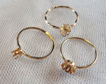 Ring blank- 4mm prong setting - Gold Filled - custom made in your size  14k /20 - One Ring Blank with Prong setting on 1mm hammered band