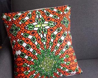 The Green and orange wax cushion flamboyant design