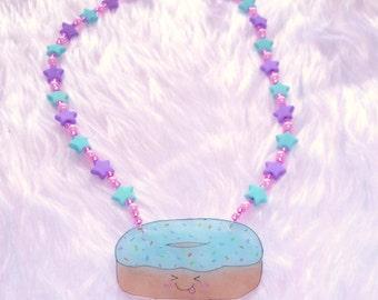 Blue Bubblegum Iced donut necklace - Kawaii Shrink plastic pendant on a beaded star necklace