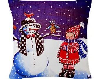 Winter Girl Snowman Folk Art Pillow - Woven Throw Pillow Whimsical Art by Renie Britenbucher