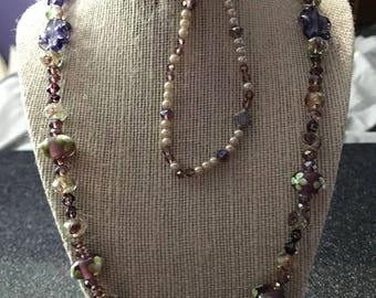 Purple Floral Swarovski Crystal Mixture Jewelry Set