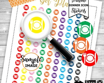 Dinner Icon Stickers, Icon Stickers, Functional Planner Stickers, Stickers For Planner, Printable Planner Stickers,