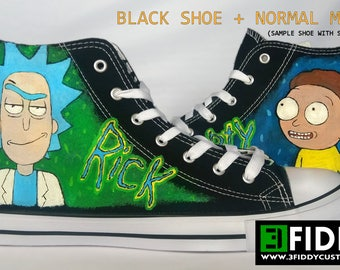 Hand painted Rick and Morty Sneakers Shoes Trainers - we tailor to your taste! Shoe Wizzards 3Fiddy.