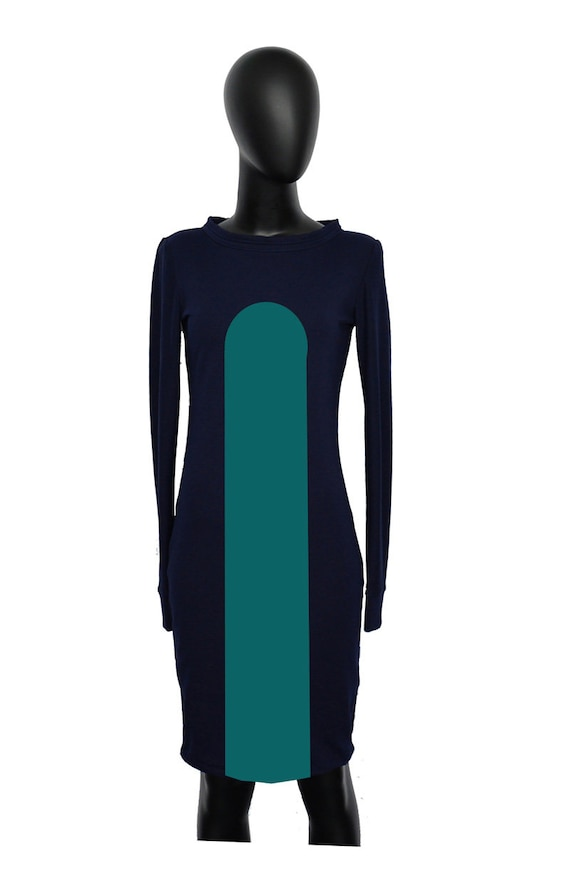 dress AX2 Set Iza petrol Blue dress Navy Fabian sleeve blue long dress women loop hoodie Hqq6ATw