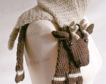 Digital PDF Crochet Pattern for Reindeer Scarf - DIY Fashion Tutorial - Instant Download - ENGLISH only