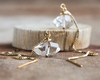 Herkimer Diamond Ear Threaders, April Birthstone, Long Earrings, Sexy Earrings, Elegant Chain Threader Earrings, Herkimer Diamond Earrings