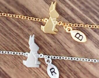 rabbit bracelet, Personalized bracelet, initial bracelet, bunny bracelet, best friend bracelet, child bracelet, christmas gift