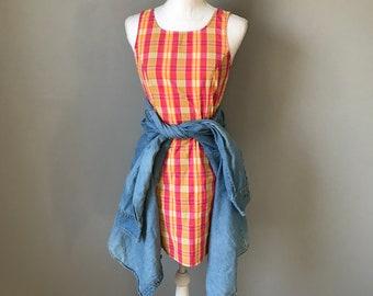 Colorful Sleeveless Plaid Spring Dress / Bright Pink Vintage 90's Plaid Mini Dress / 90's Cotton Summer Mini Dress / Size 4