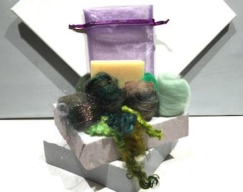 Gardener's Soap Felting Kit, Felted Soap Kit, DIY Gift, Stocking Stuffer, Wool Craft Kit, Wet Felting, Lemon Scent Organic Soap