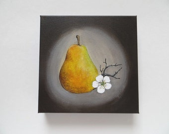 Canvas painting, pear painting, acrylic painting, original painting, pear and flower, kitchen art, pear and flower, kitchen painting