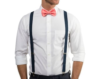 Coral Bow Tie & Navy Suspenders with Coral Pocket Square for Baby Toddler Boy Men