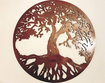 Tree of life metal wall art/sign hand finished. Many colours available.