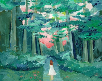 Into the Woods - limited edition giclee print of an original oil painting