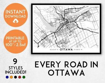 Ottawa map print, Printable Ottawa map art, Canada map, Ottawa print, Ontario map, Ottawa art, Ottawa poster, Ottawa wall art, Ottawa gift,