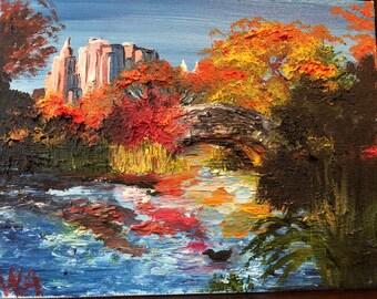 Central Park Duck Pond Oil On Canvas