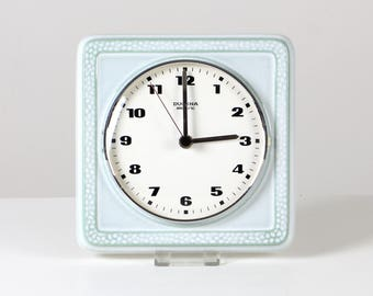 Vintage kitchen clock, mint green clock, German ceramic clock, mint kitchen clock, German Junghans clock
