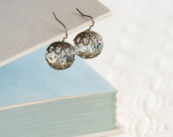 Crystal Antique Earrings, Faceted Glass Beads, Brass, Neo Vintage Jewelry