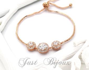 Wedding Bracelet Rose Gold plated Zirconia Bracelet Wedding Bracelet Zirconia Bracelet Wedding Jewelry Bridal Bracelet Bridal Jewelry