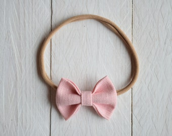 Headband with pink bow for newborn hair, elastic with pink bow in linen, headband for girls, hair accessories girl, Made in Italy
